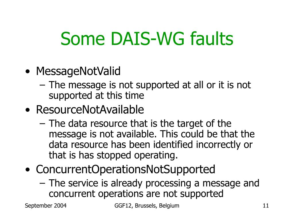 Some DAIS-WG faults