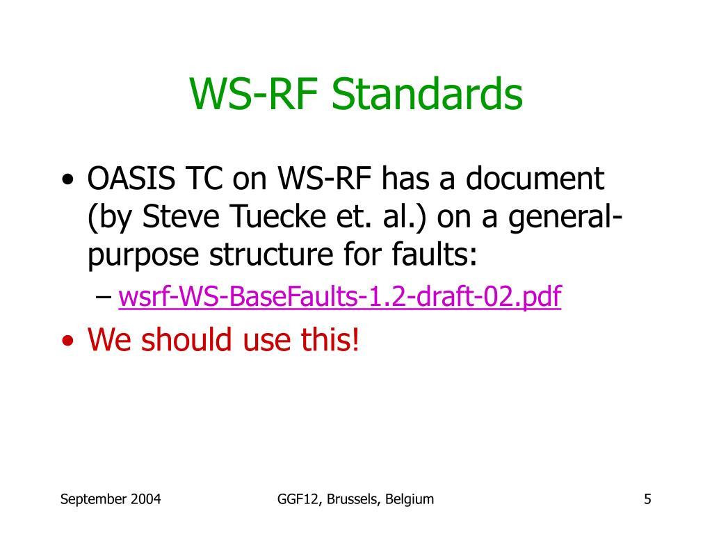 WS-RF Standards