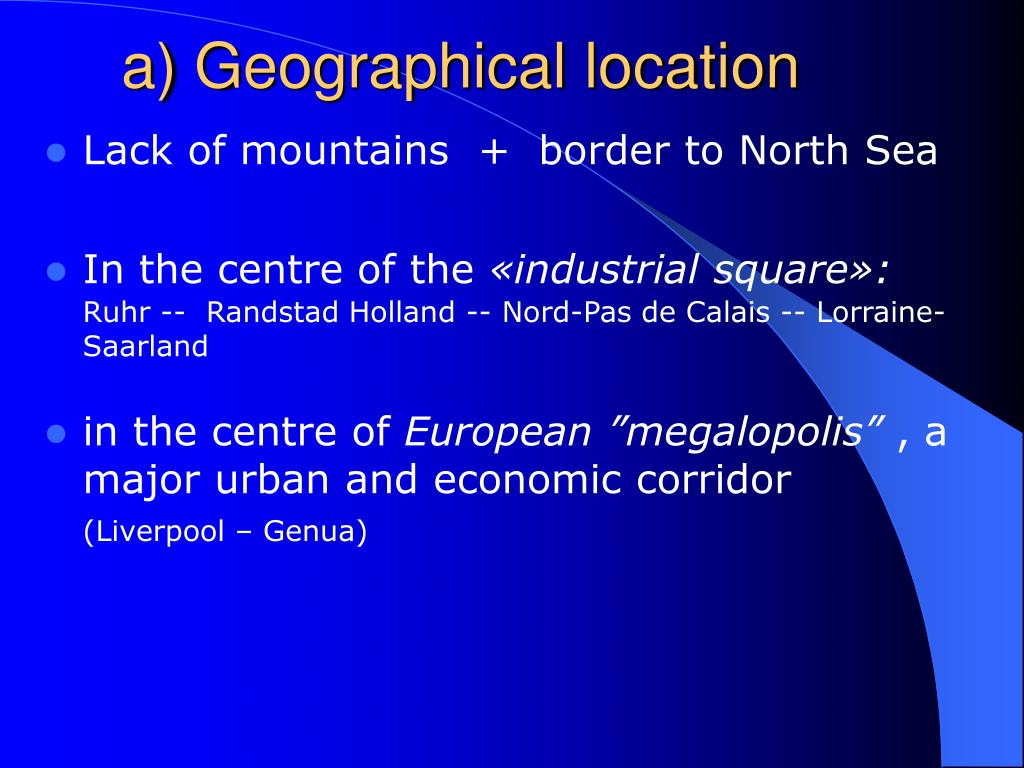 a) Geographical location