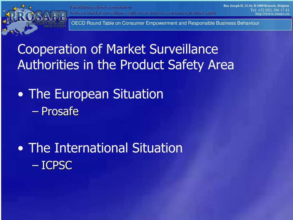 Cooperation of Market Surveillance Authorities in the Product Safety Area