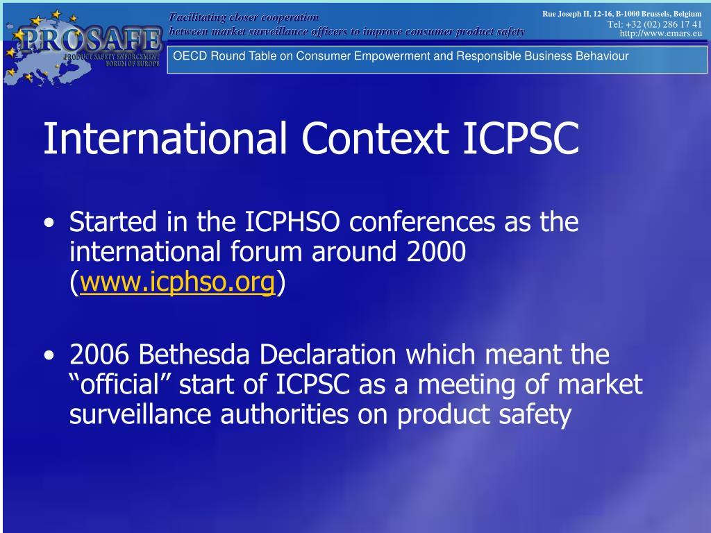 International Context ICPSC