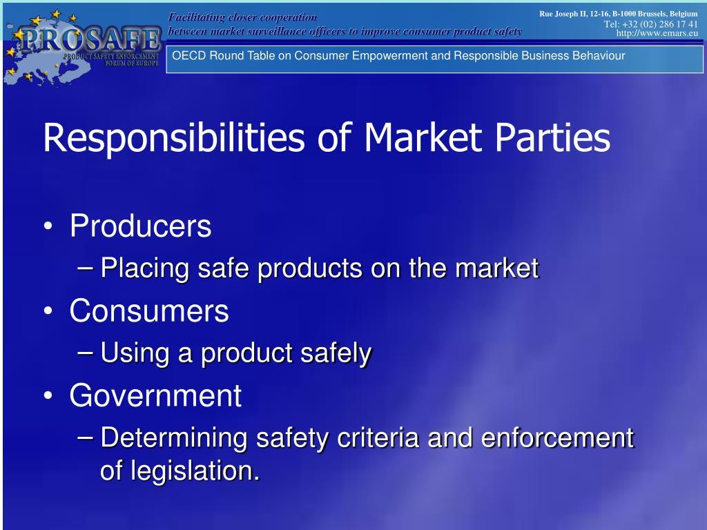 Responsibilities of Market Parties