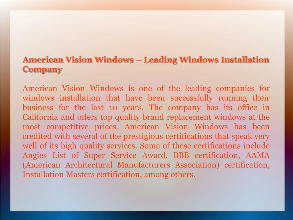 American Vision Windows – Leading Windows Installation Company