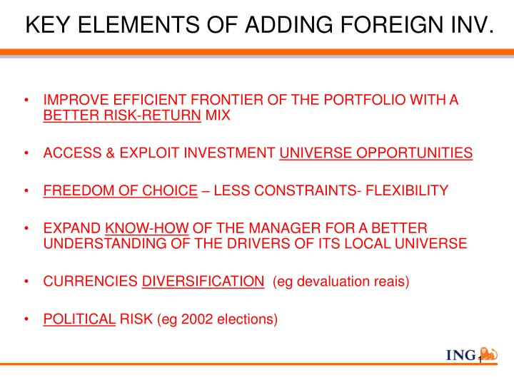 KEY ELEMENTS OF ADDING FOREIGN INV.