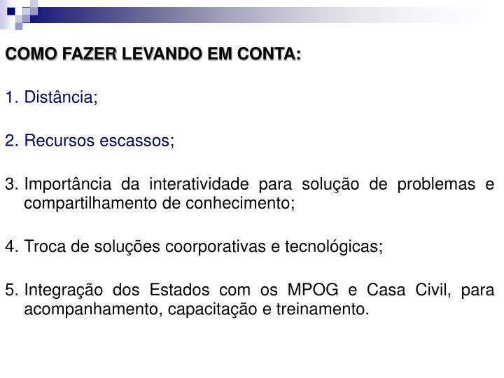 COMO FAZER LEVANDO EM CONTA: