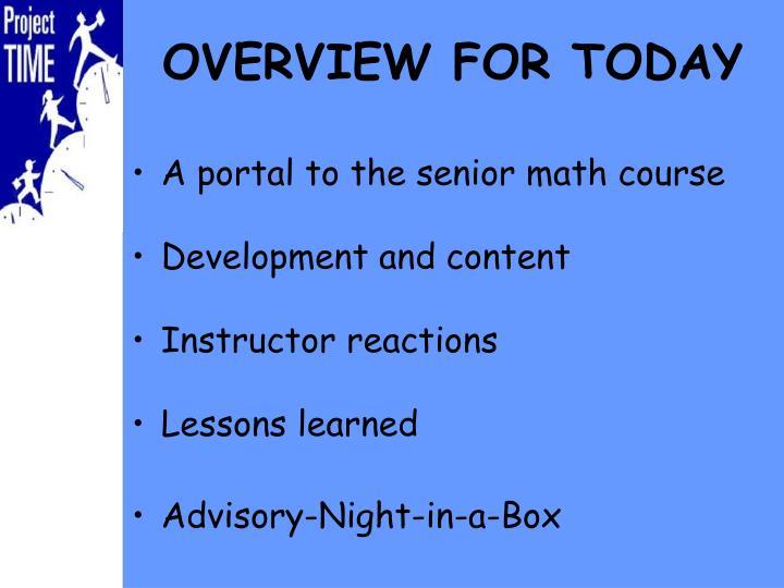 A portal to the senior math course