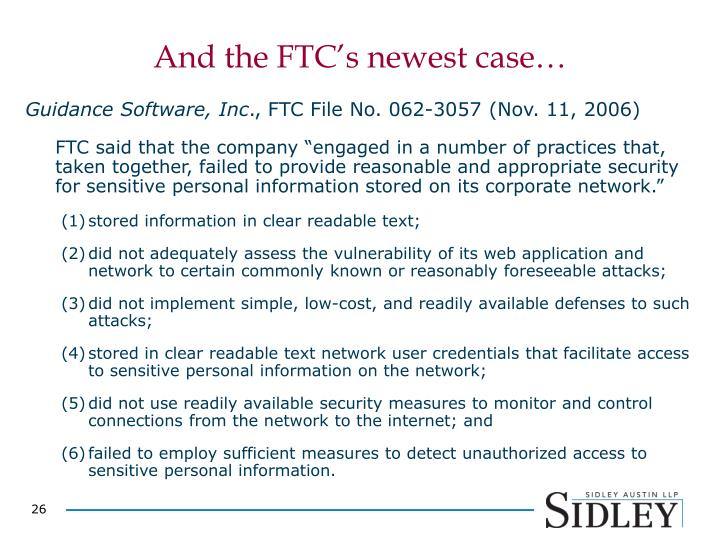 And the FTC's newest case…