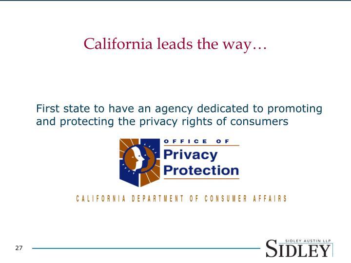 California leads the way…
