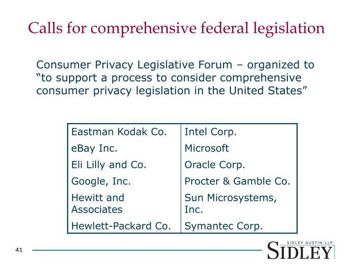 Calls for comprehensive federal legislation