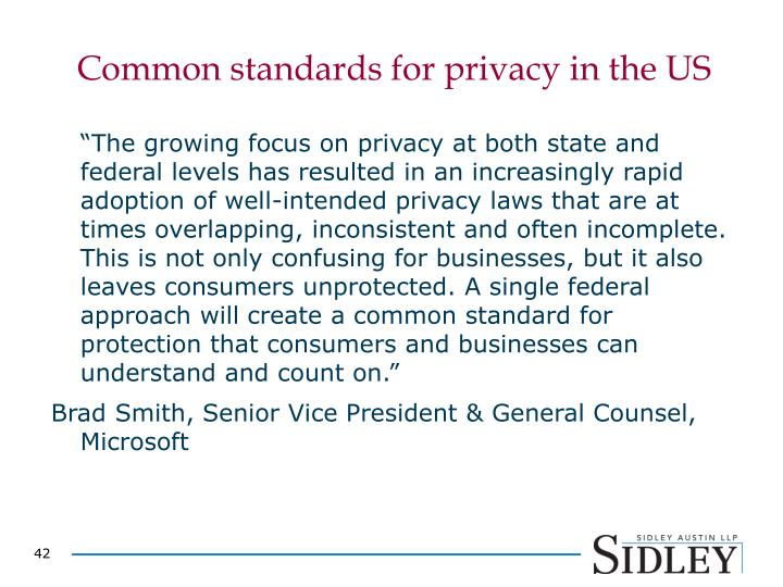 Common standards for privacy in the US