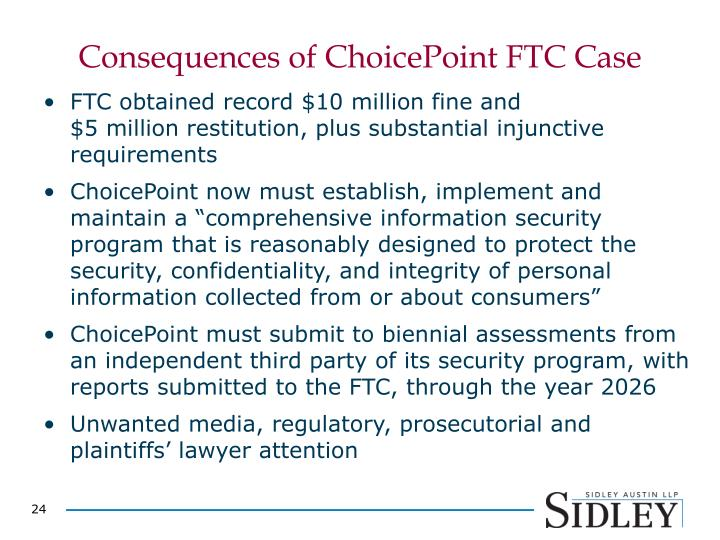 Consequences of ChoicePoint FTC Case