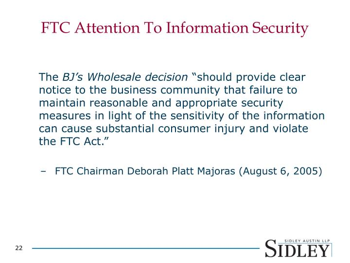 FTC Attention To Information Security