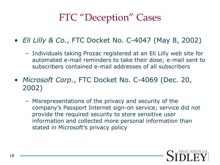 "FTC ""Deception"" Cases"