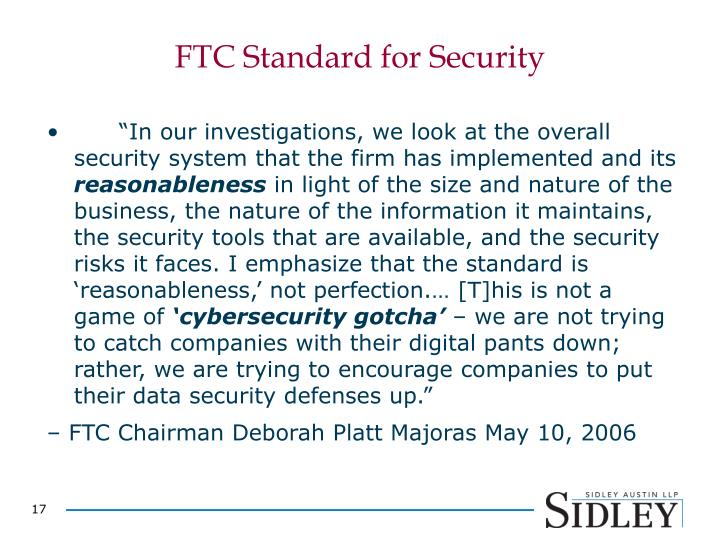 FTC Standard for Security