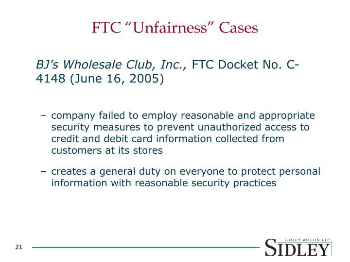 """FTC """"Unfairness"""" Cases"""
