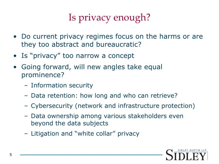 Is privacy enough?