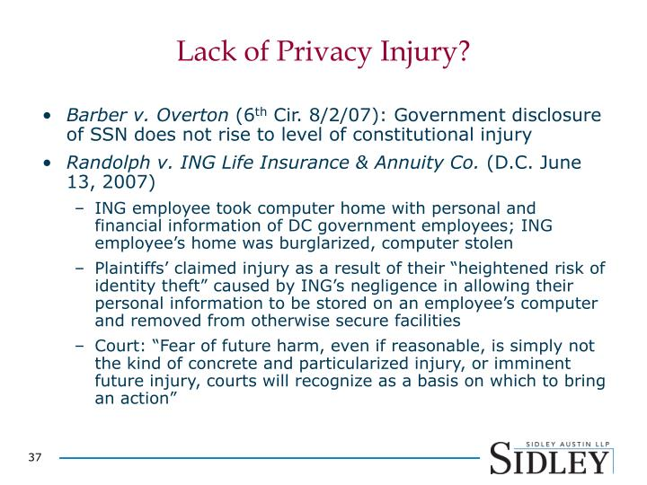 Lack of Privacy Injury?