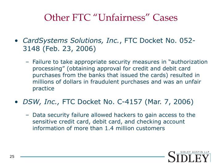 "Other FTC ""Unfairness"" Cases"