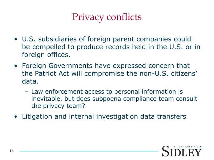 Privacy conflicts
