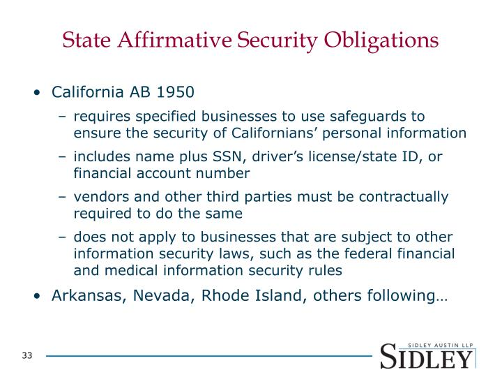 State Affirmative Security Obligations