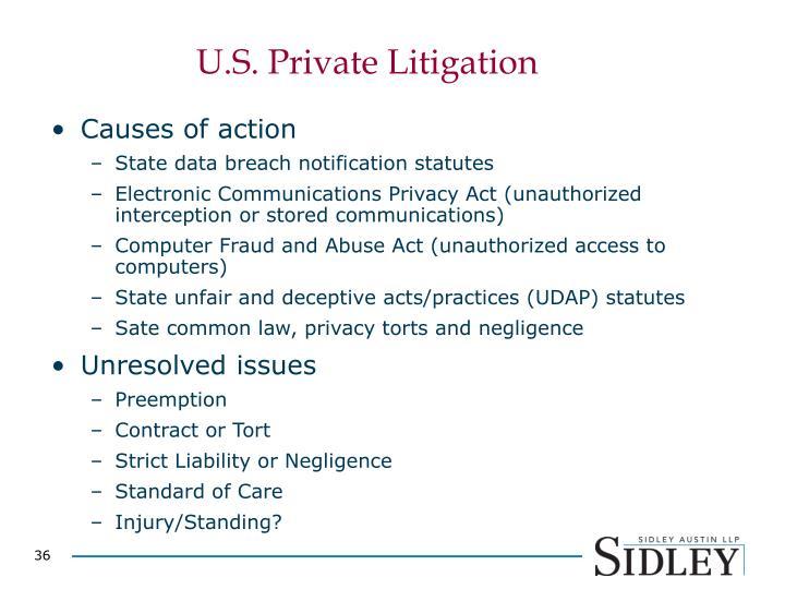 U.S. Private Litigation