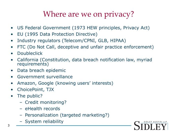 Where are we on privacy?