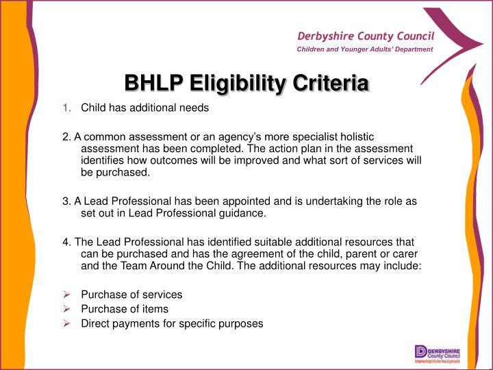 BHLP Eligibility Criteria