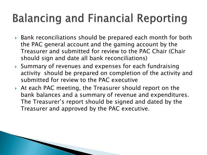Balancing and Financial Reporting