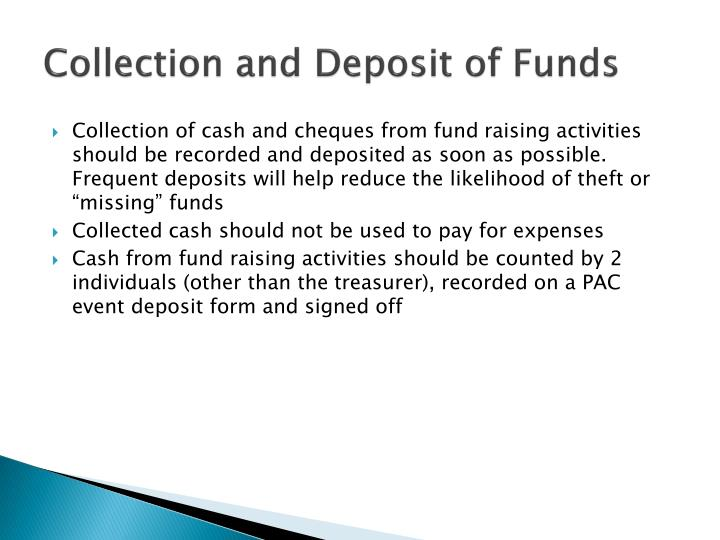 Collection and Deposit of Funds