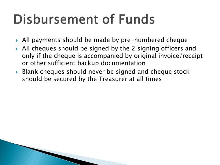 Disbursement of Funds
