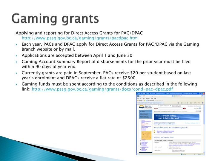 Gaming grants