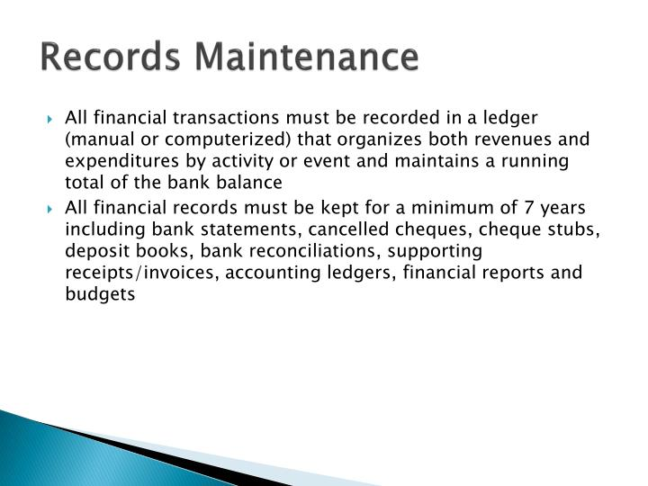 Records Maintenance