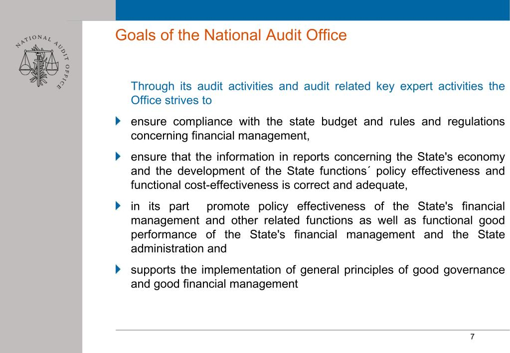 Goals of the National Audit Office
