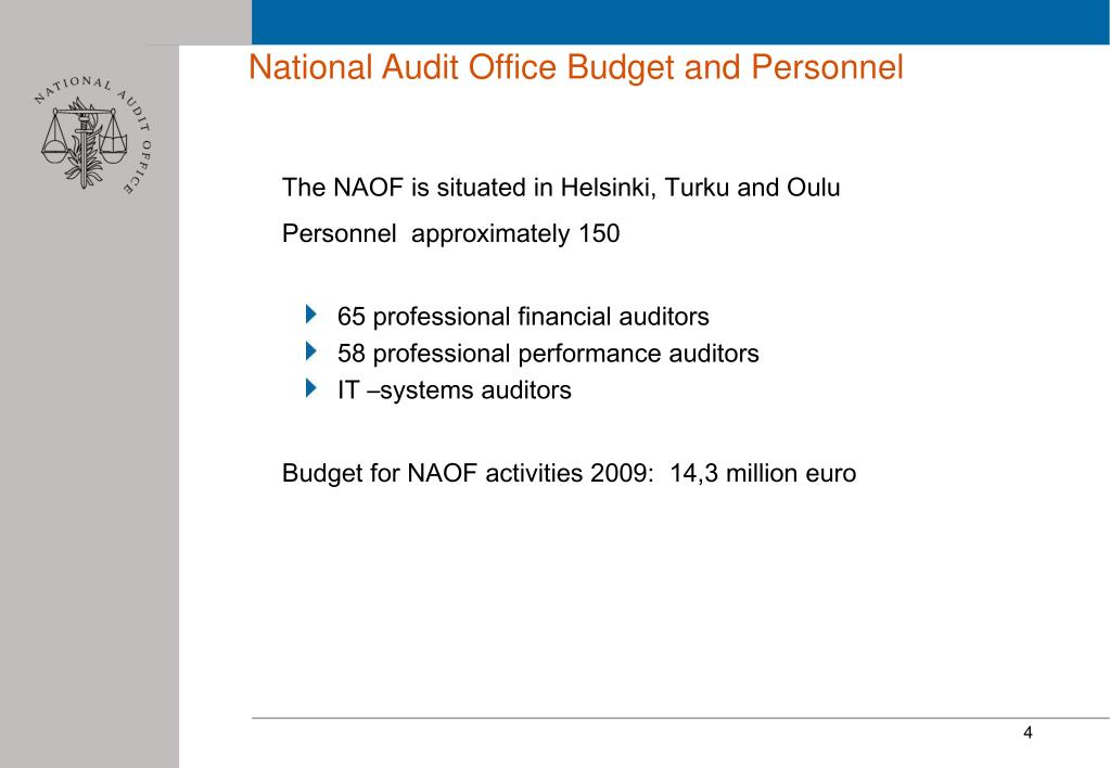 National Audit Office Budget and Personnel