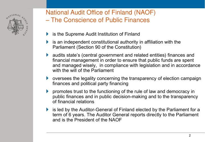 National audit office of finland naof the conscience of public finances