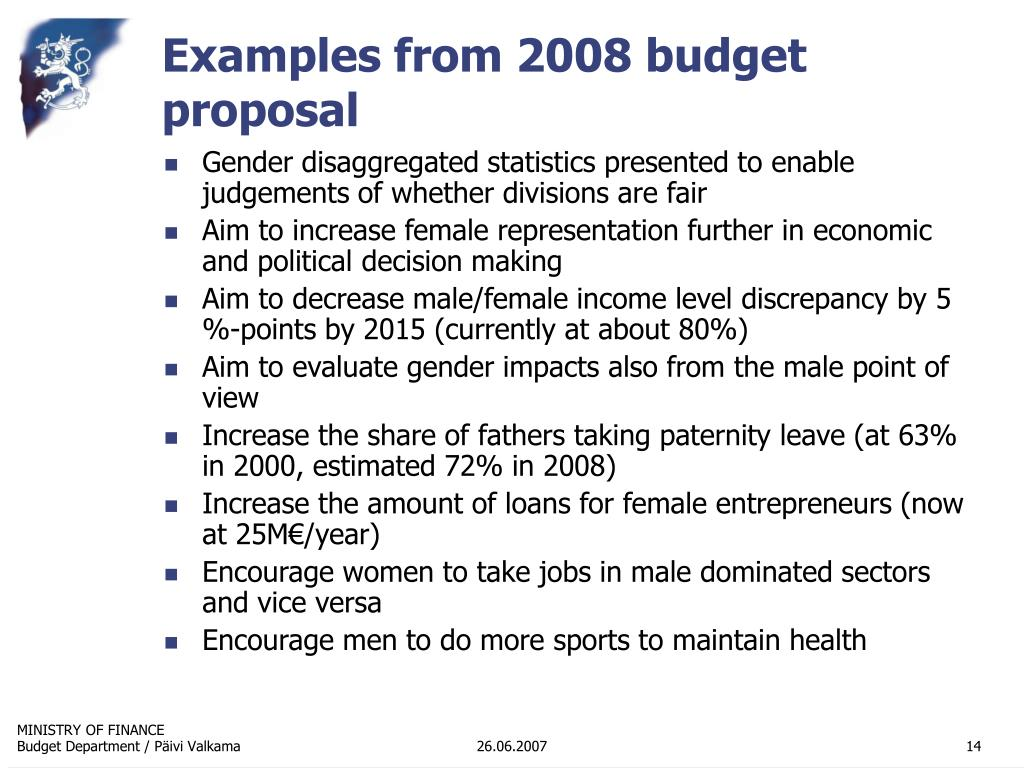 Examples from 2008 budget proposal