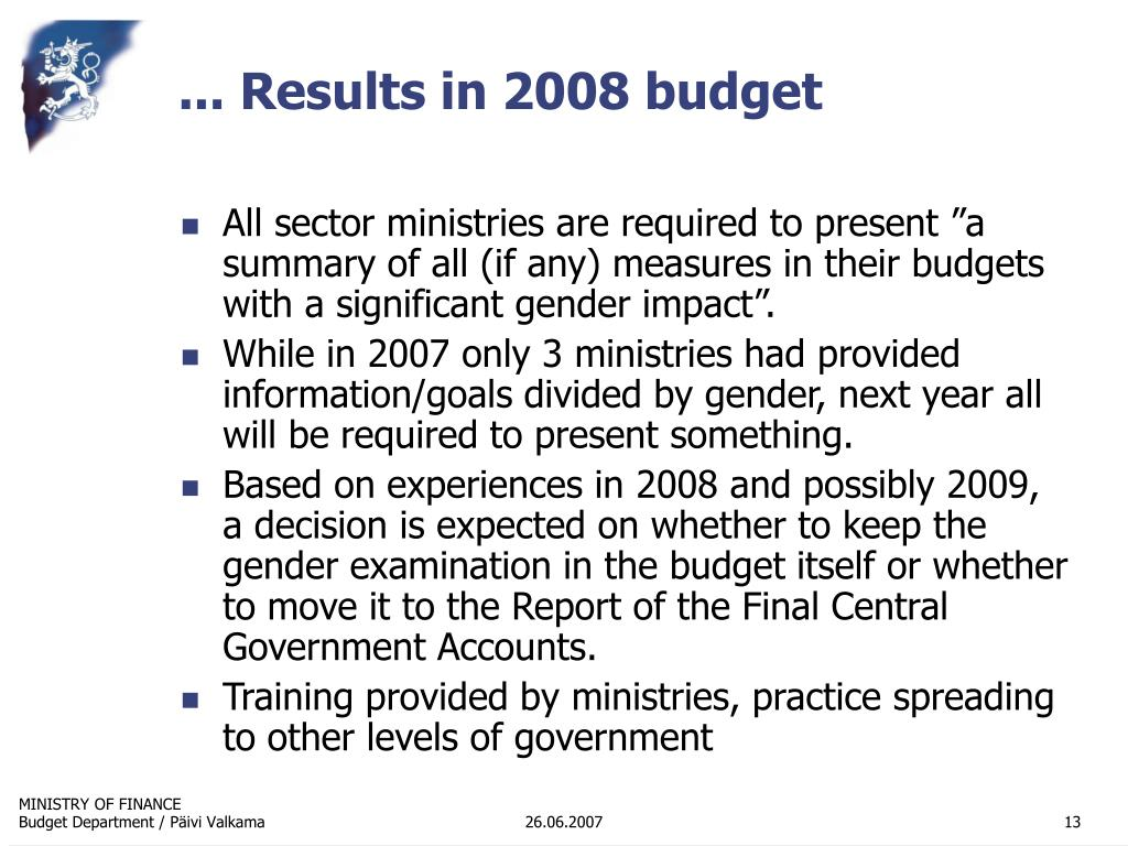 ... Results in 2008 budget