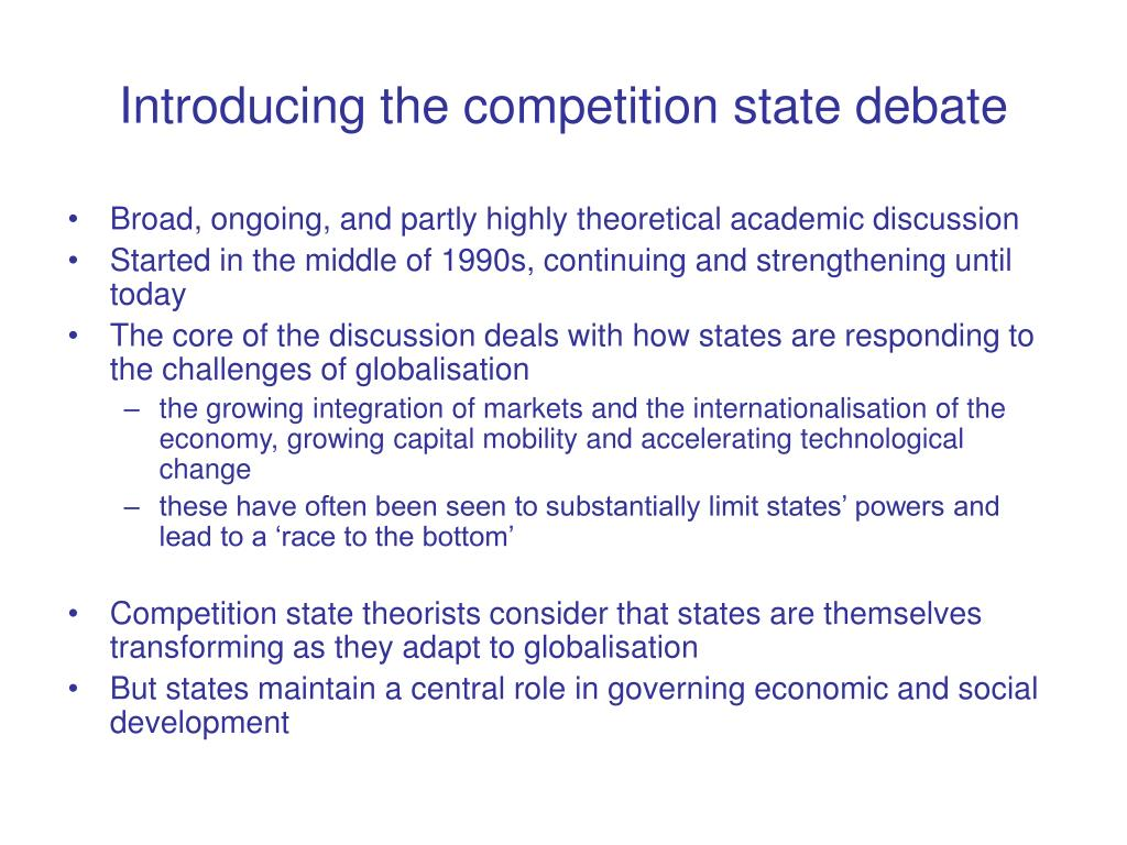 Introducing the competition state debate