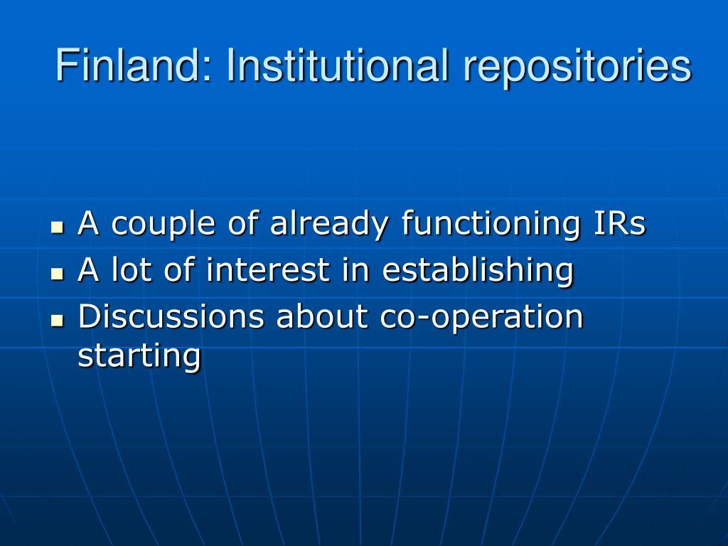 Finland: Institutional repositories