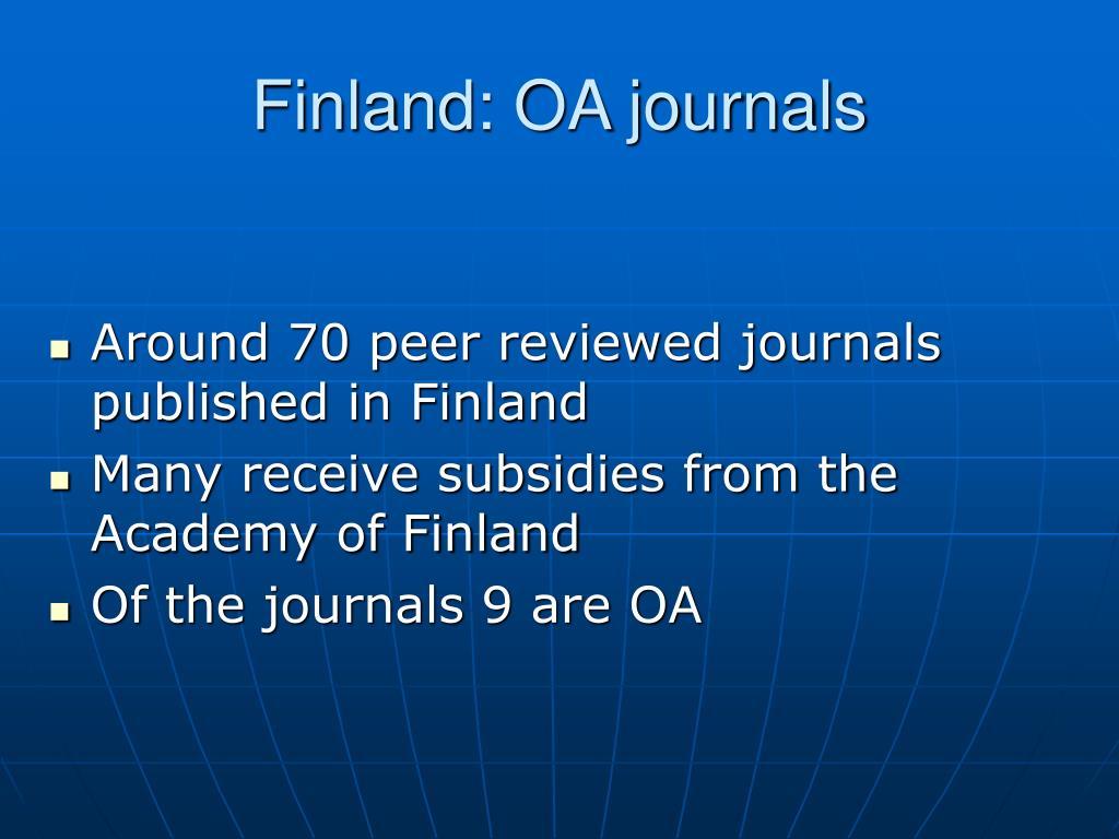 Finland: OA journals