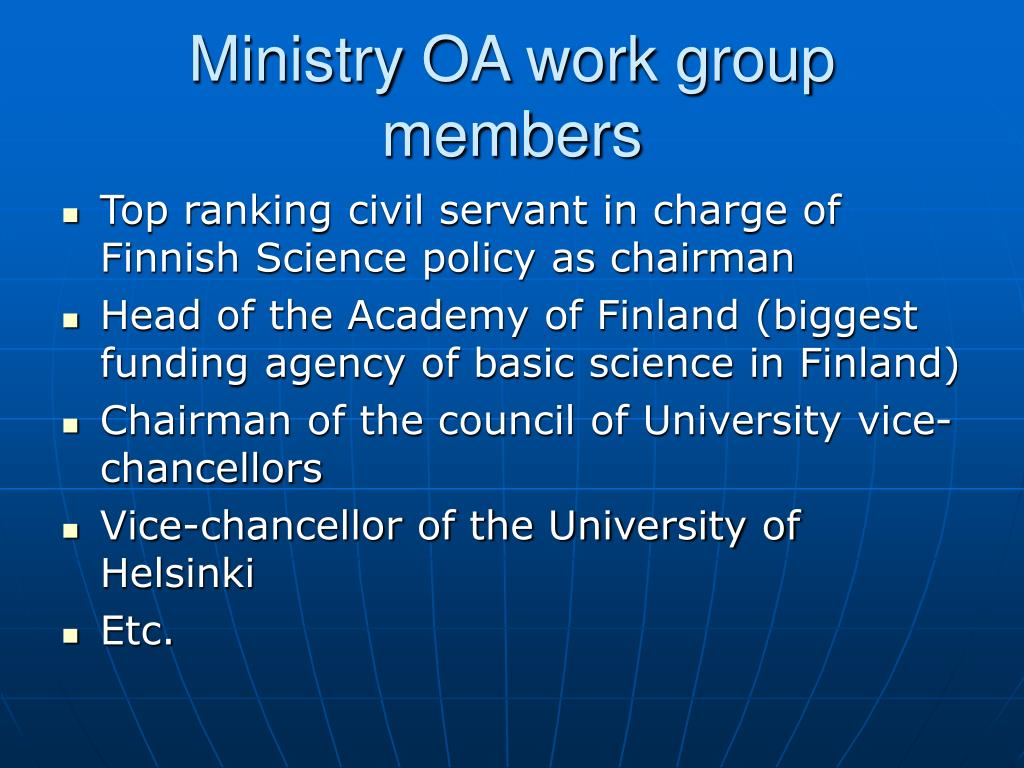 Ministry OA work group members