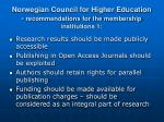 norwegian council for higher education recommendations for the membership institutions 1