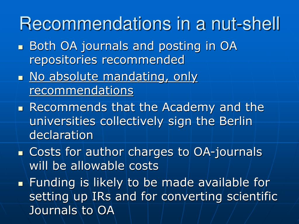 Recommendations in a nut-shell