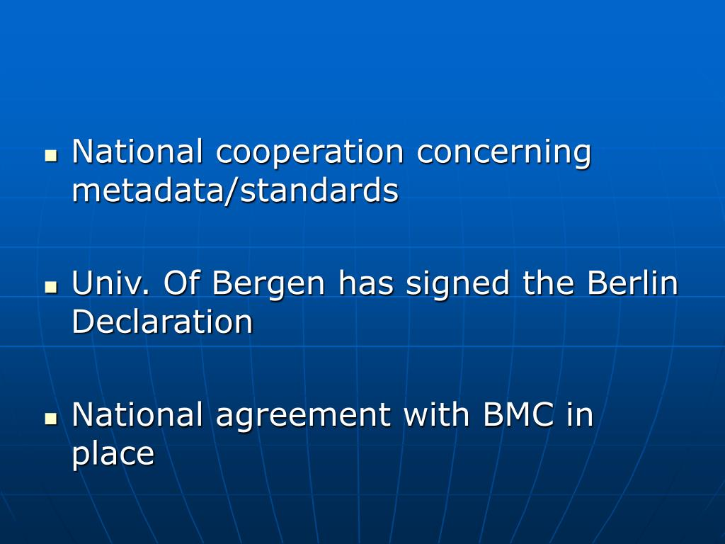 National cooperation concerning metadata/standards