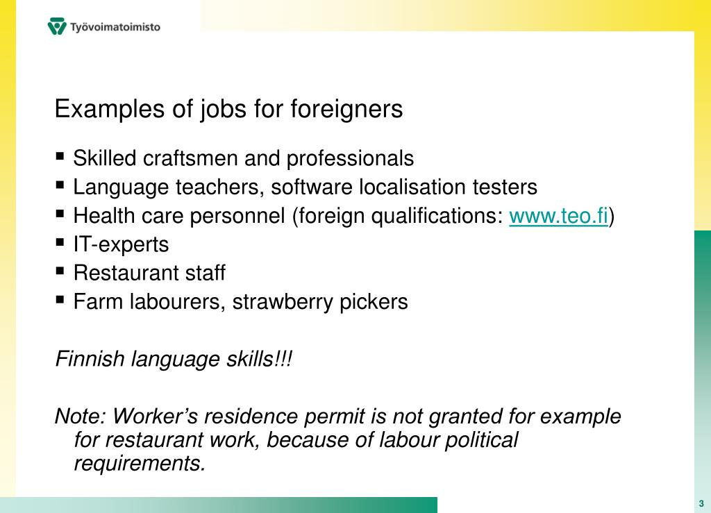 Examples of jobs for foreigners