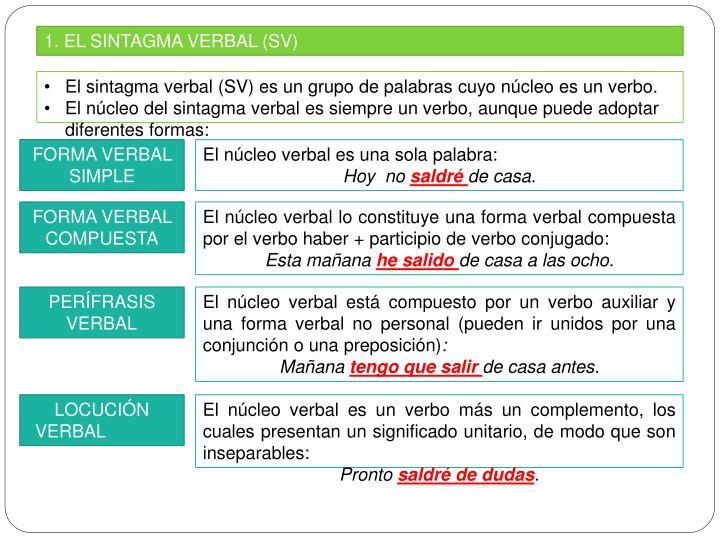 1. EL SINTAGMA VERBAL (SV)