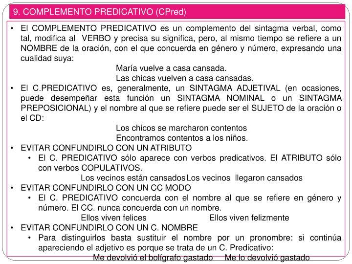 9. COMPLEMENTO PREDICATIVO (