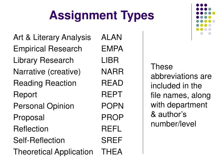 Assignment Types