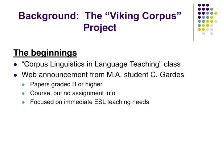 """Background:  The """"Viking Corpus"""" Project"""