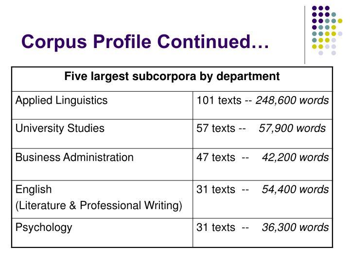 Corpus Profile Continued…